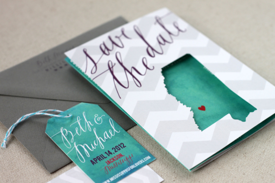 Chevron-Stripe-Calligraphy-Wedding-Save-the-Dates-August-Blume2